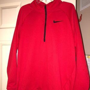 Men's Red Nike 1/4 Zip Pullover